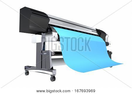 Isolated 3D Illustration of Wide Format Commercial Grade Printer. Wide Format Vinyl Banners Printing.