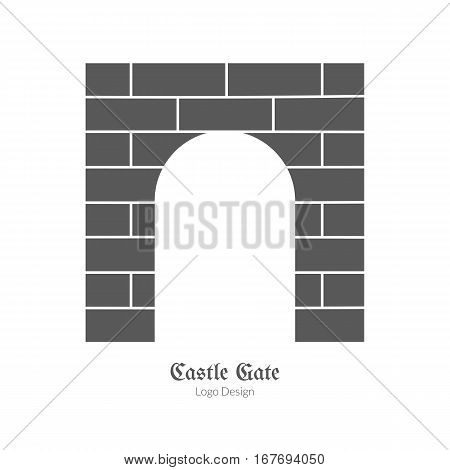 Medieval castle brick gate. Single logo in modern black simple style isolated on white background. Medieval theme silhouette symbol. Simple medieval pictogram, logotype template. Vector illustration.