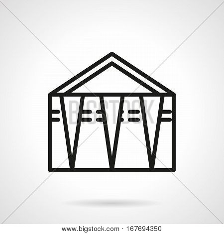 Abstract symbol of trade tent or canopy. Objects for street trading in parks, on beaches, festival and others. Black simple line design vector icon.