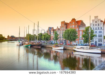 Luebeck at the river Trave at sunset,  Germany
