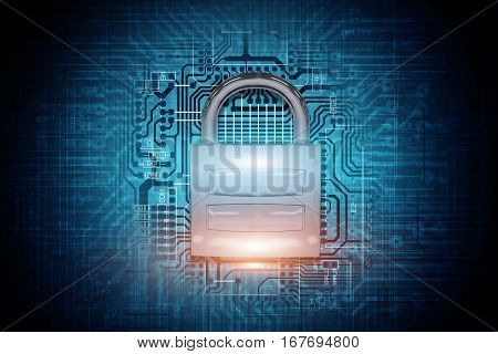 Safe Network Padlock Concept 3D Rendered Illustration. Shiny Metallic Padlock on the Circuit Board Background. Secured Network Conceptual Illustration.