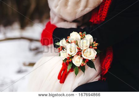 Beautiful Winter Wedding Bouquet. Bridal Bouquet With Cones, Cotton And Spruce Branches. The Bride H