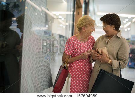 Senior Adult Women Shopping Bags Lifestyle