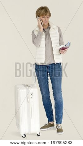 Senior Adult Woman Mobile Phone Luggage Traveling