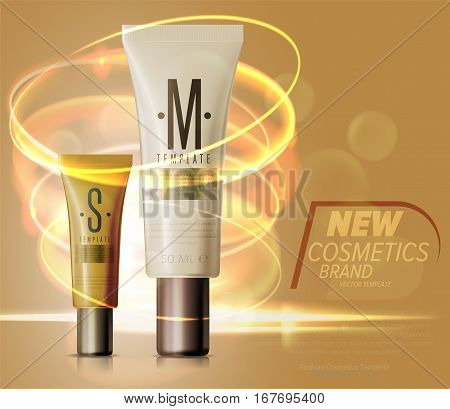 Realistic face or body care cosmetic product plastic container set vector illustration. Cleanser, lotion, tonic, shower gel, shampoo, cream 3D colorful tube. New modern cosmetic brand series template