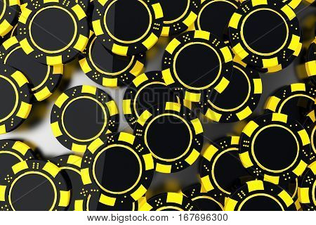 Yellow Black Casino Chips Closeup. 3D Render Illustration. Casino Chips and Gambling Concept.
