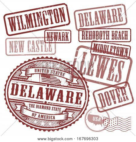 Grunge rubber stamps set with names of cities in State of Delaware United States vector illustration
