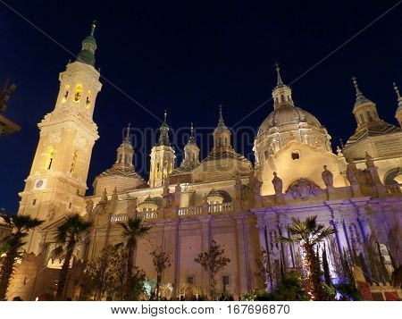 Night View of Cathedral-Basilica of Our Lady of the Pillar, Zaragoza, Spain