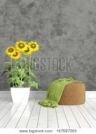 Beautiful modern interior with armchair and sunflowers. 3D rendering