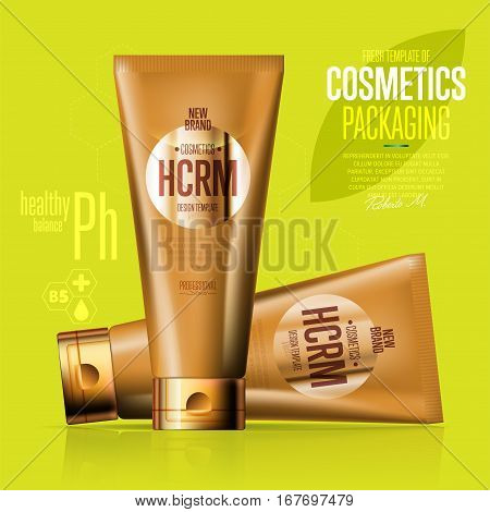 Realistic cosmetic suntan cream golden plastic container vector illustration. Face cleanser, skin tonic, shower gel, shampoo, cream 3D tube. Fashion and beauty, new cosmetic elegant brand template
