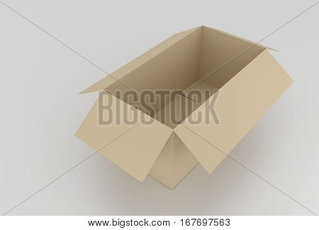 3D Empty Brown Cardboard Box Opened, Ready To Wrap Things In It On White Background. Rendered Illust