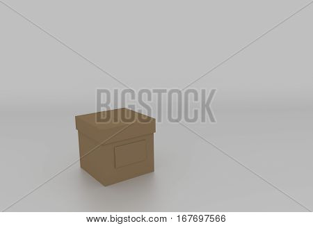 3D Brown Cardboard Box With Cover And Space For Text. Rendered Illustration.