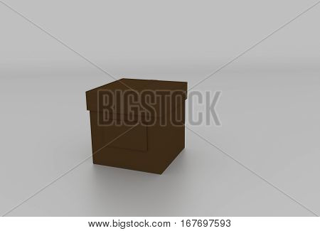 3D Dark Brown Cardboard Box With Cover And Space For Text. Rendered Illustration.