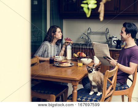 Couple Eating Morning Breakfast Togetherness
