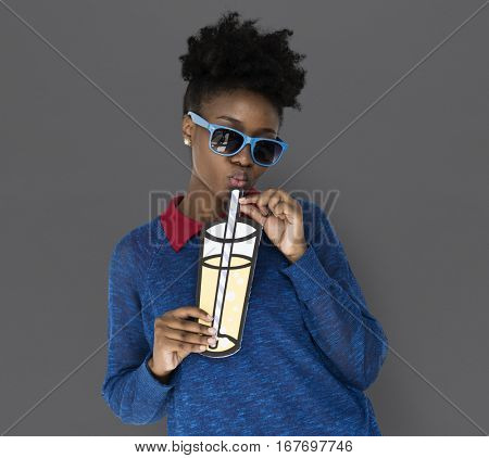 African Descent Woman Holding a Beverage