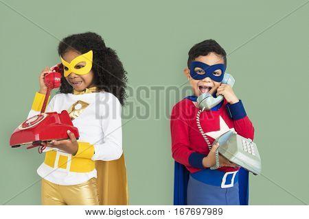 Superhero Kids with Telephone Concept