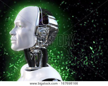 3D rendering of male robot with green bokeh light effect.