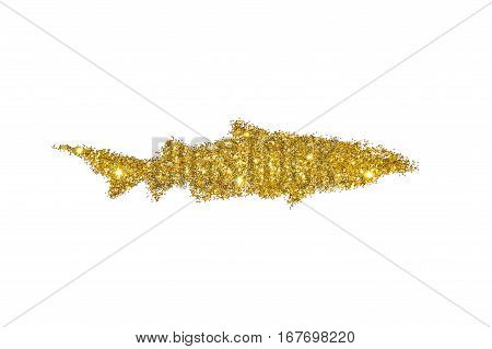 Shark of golden glitter on white background, icon for your design