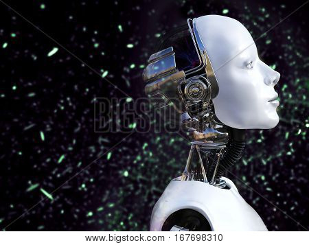 3D rendering of a female robot with bokeh light effect.