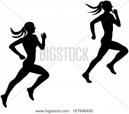 two slender female runner athlete running silhouette black