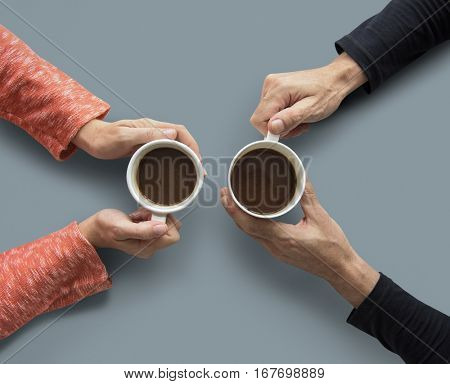 Human Hand Holding Coffee Cup Morning Drinks