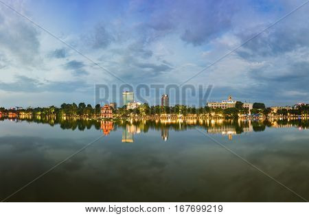 Hoan Kiem Lake Panorama View At Sunset Period With Ancient Turtle Tower And Hanoi Post Office (buu D