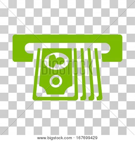 ATM Insert Cash icon. Vector illustration style is flat iconic symbol eco green color transparent background. Designed for web and software interfaces.