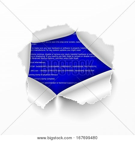 Torn hole in white sheet of paper on BSOD error program code