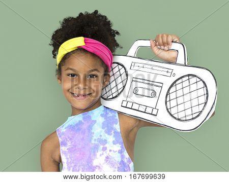 Little Girl Holding Papercraft Arts Radio Music Studio Portrait