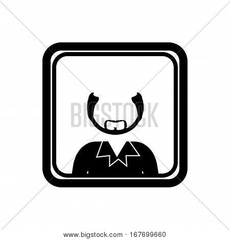 monochrome square with half body bald man with beard without face vector illustration