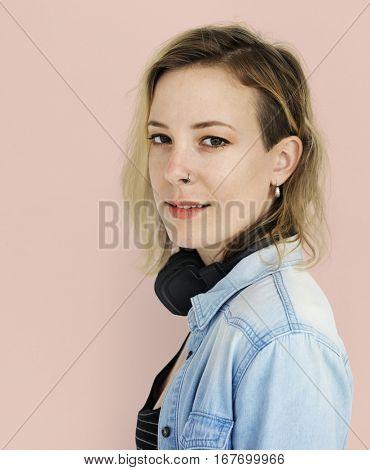 Caucasian Lady Headphones Music Concept