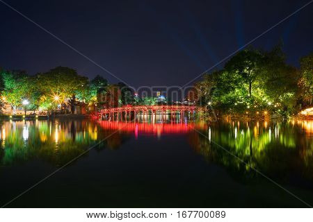 Hoan Kiem Lake At Night With Old The Huc Bridge On National Celebration Day