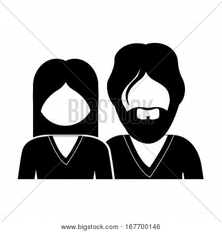 monochrome silhouette with half body couple without face she long hair and him with beard
