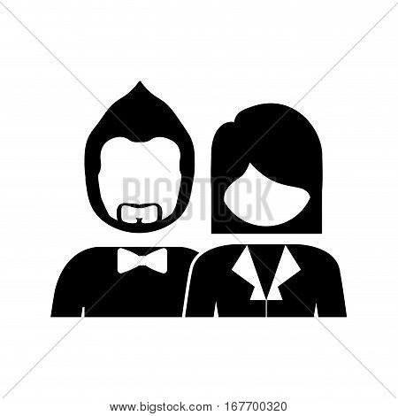 monochrome silhouette with half body couple without face she short hair and him with beard and bow tie vector illustration