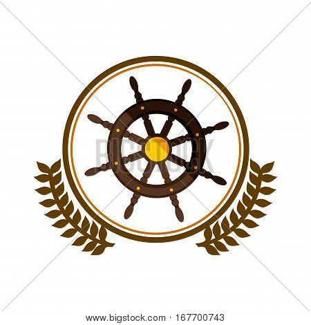 colorful silhouette circle with decorative olive branch and boat helm vector illustration