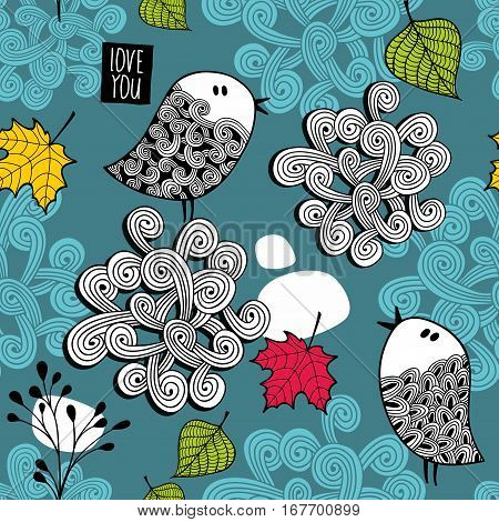 Endless illustration with autumn leaves and cute little birds. Vector pattern in doodle style.