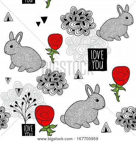 Seamless background with cute little rabbit and red roses. Vector illustration in romantic style.
