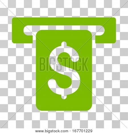 Cash Withdraw icon. Vector illustration style is flat iconic symbol eco green color transparent background. Designed for web and software interfaces.