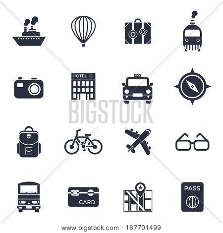 Travel, journey, trip vector. vacation or countries of the world icon with daylight background, cloud and sun light