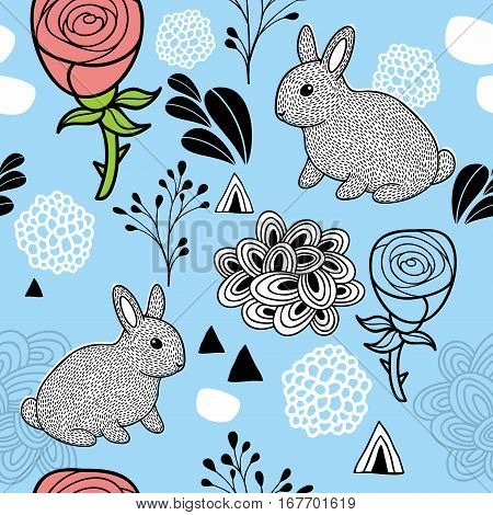 Endless pattern with pink flowers and small cartoon pets. Vector illustration of rabbits.