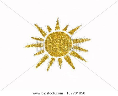 Sun of golden glitter sparkle on white background. Icon for your design.