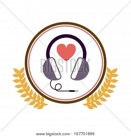 colorful silhouette circle with decorative olive branch and stereo headset vector illustration