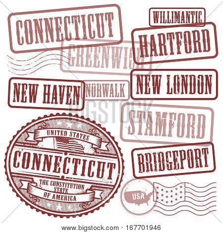 Grunge rubber stamps set with names of cities in State of Connecticut United States vector illustration
