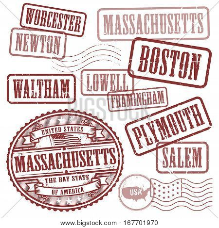 Grunge rubber stamps set with names of cities in State of Massachusetts United States vector illustration
