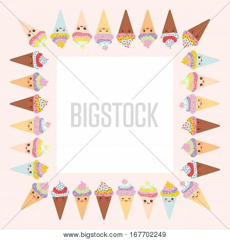 Card Design For Your Text, Banner Template With Square Frame, Kawaii Funny Ice Cream Waffle Cone, Mu