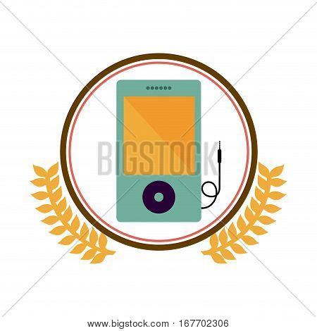 colorful silhouette circle with decorative olive branch and portable music device vector illustration
