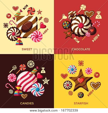 Candy sweets greeting colorful vector illustration banners