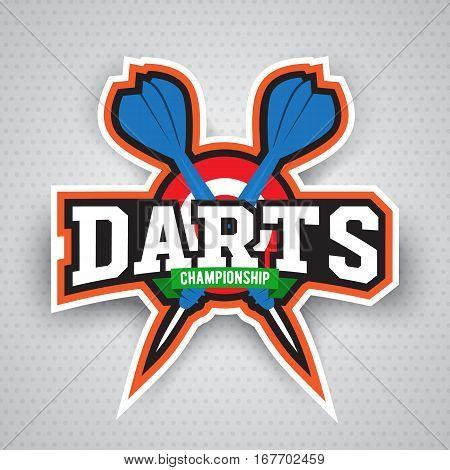 Vintage darts labels, logotypes, badges and vintage elements. . For sports design usage