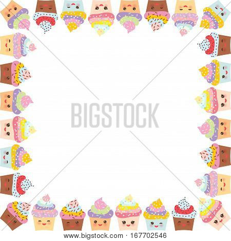Card Design With Square Frame, Cupcake, Muzzle With Pink Cheeks And Winking Eyes, Pastel Colors On W