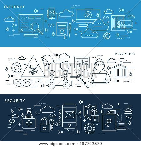 Computer or internet security icons set - vector linear hacking protection signs or information security symbols